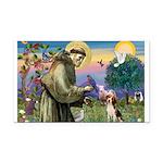 St Francis/Beagle Rectangle Car Magnet
