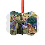 St Francis & Golden Picture Ornament