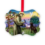 St Francis Chocolate Lab Picture Ornament