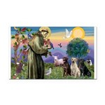 St. Francis/3 Labradors Rectangle Car Magnet