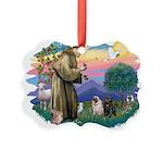 St.Francis #2/ Pugs (2-blk/f) Picture Ornament