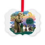 St.Francis #2/ 2 Shelties Picture Ornament