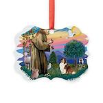 St.Francis #2/ Sheltie (sw) Picture Ornament
