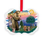 St. Francis / 2 Yorkies Picture Ornament