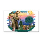 St. Francis / 2 Yorkies Rectangle Car Magnet