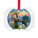 St Francis/3 dogs Picture Ornament