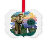 St. Fran (ff) - Black/white c Picture Ornament