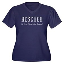 Rescued is Women's Plus Size V-Neck Dark T-Shirt