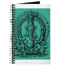 Blue Ganesh Hindu God of Knowledge Engraving Journ