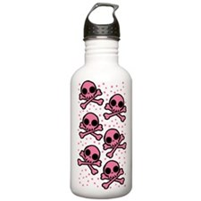 Cute Pink Skulls And Crossbones Water Bottle