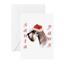 Santa Paws Miniature Schnauzer Greeting Cards (Pac