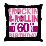 60th Birthday rock and roll Throw Pillow