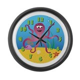 Cute Fishing Large Wall Clock