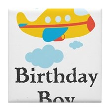 Yellow Airplane Birthday Boy Tile Coaster