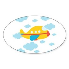 Yellow Airplane in the Clouds Decal