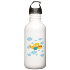 Yellow Airplane in the Clouds Water Bottle