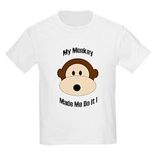 My Monkey Made Me Do It! Kids T-Shirt