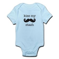 kiss my stash moustache Infant Bodysuit