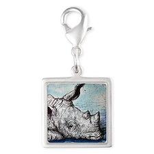 Rhino! Wildlife art! Silver Square Charm