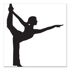 "Bikram Yoga Bow Pose Square Car Magnet 3"" x 3"""