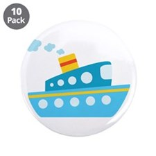 "Blue Red and Yellow Tug Boat 3.5"" Button (10 pack)"