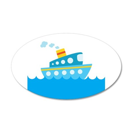 Boat in Blue Water 20x12 Oval Wall Decal