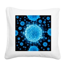 HIV virus particles, artwork - Square Canvas Pillo