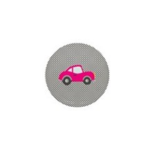 Pink Car on Black and White Dots Mini Button