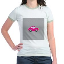 Pink Car on Black and White Dots T