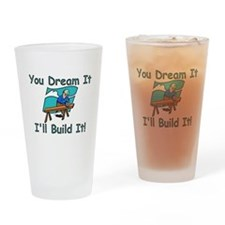 Cute Builder Drinking Glass