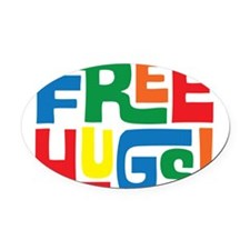 FREE HUGS Oval Car Magnet