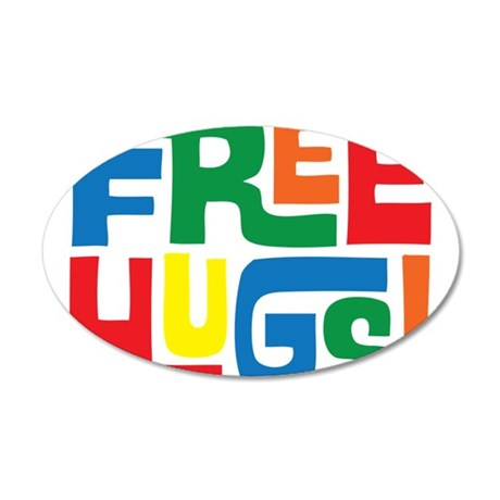 FREE HUGS 20x12 Oval Wall Decal