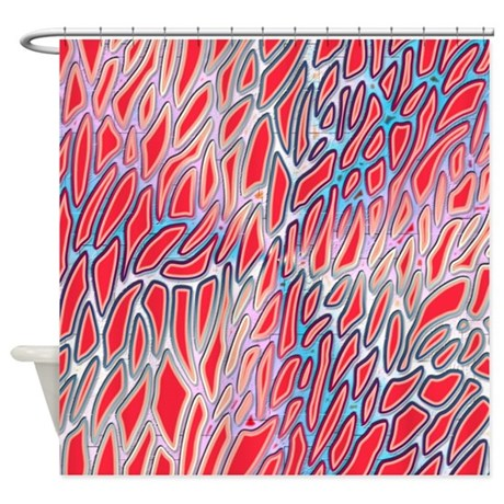 Funky Red And Blue Pattern Shower Curtain By Cheriverymery
