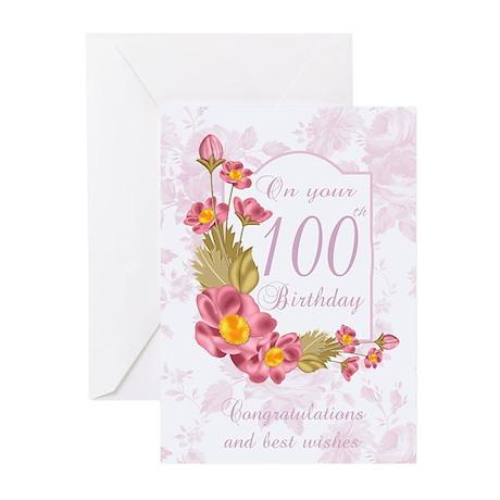 100th Birthday Greeting Card Flowers (Pk of 20)