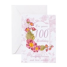 100th Birthday Greeting Card With Flowers