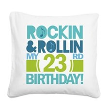 23rd Birthday Rock and Roll Square Canvas Pillow