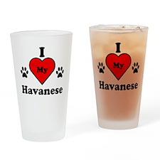 I Heart My Havanese Drinking Glass