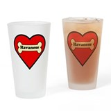 Havanese Heart Drinking Glass