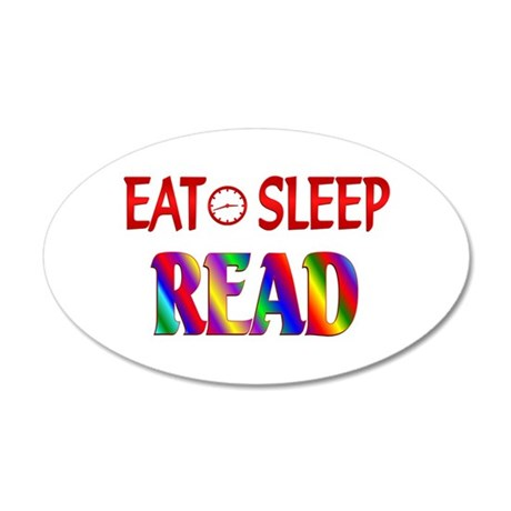 Eat Sleep Read 20x12 Oval Wall Decal