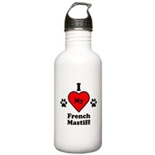 I Heart My French Mastiff Water Bottle