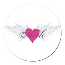Nicole-angel-wings.png Round Car Magnet