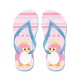 Pink Princess Penguin Flip Flops