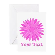 Pink Flower. Custom Text. Greeting Card