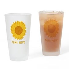 Sunflower. Custom Text. Drinking Glass