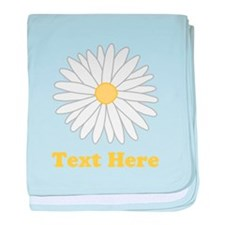 Flower with Custom Text. baby blanket