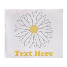 Flower with Custom Text. Throw Blanket