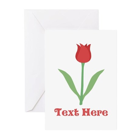 Dark Red Tulip and Text. Greeting Cards (Pk of 20)