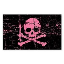 Cracked Pink Skull And Crossbones Decal