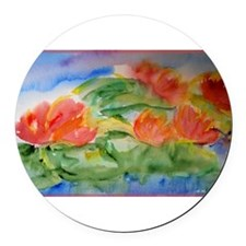 Water lilies! Watercolor art! Round Car Magnet