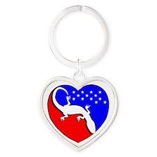 I Love The USA Gecko! Heart Keychain